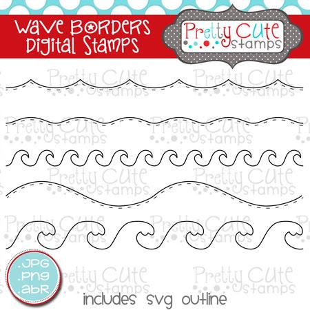 Wave Borders Digital Stamps