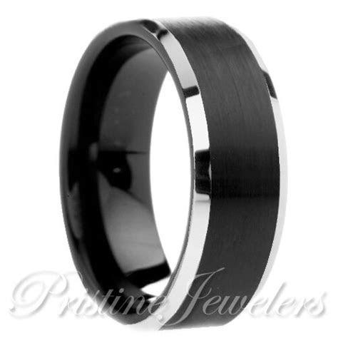 Tungsten Carbide Brushed Black Comfort Fit Mens Silver