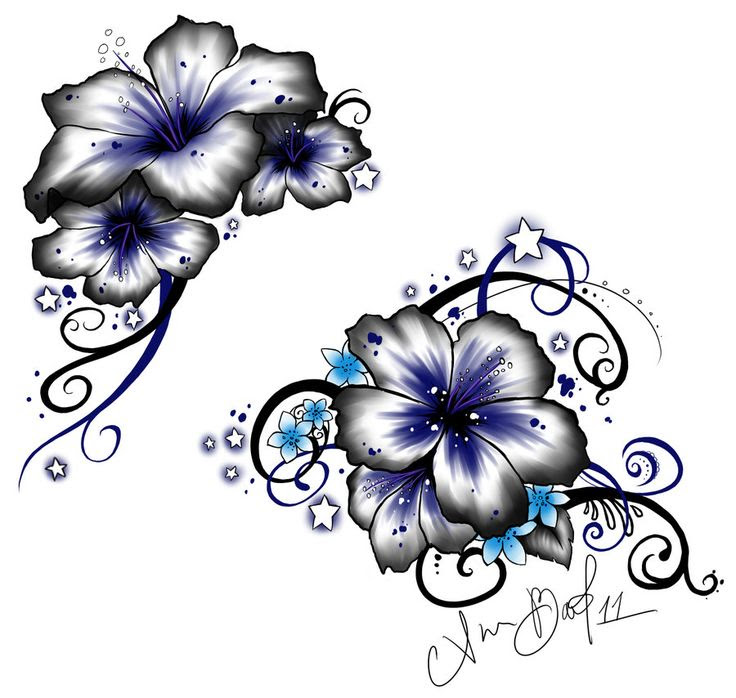 Stars And Lily Flower Tattoo Design