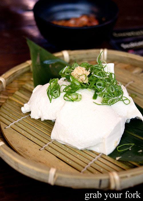homemade tofu at yebisu izakaya, regent place sydney