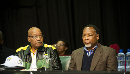 South African President Jacob Zuma with Deputy President Kgalema Motlanthe at the ruling ANC policy conference in Mangaung. The party discussed economic reforms related to land control and mining. by Pan-African News Wire File Photos