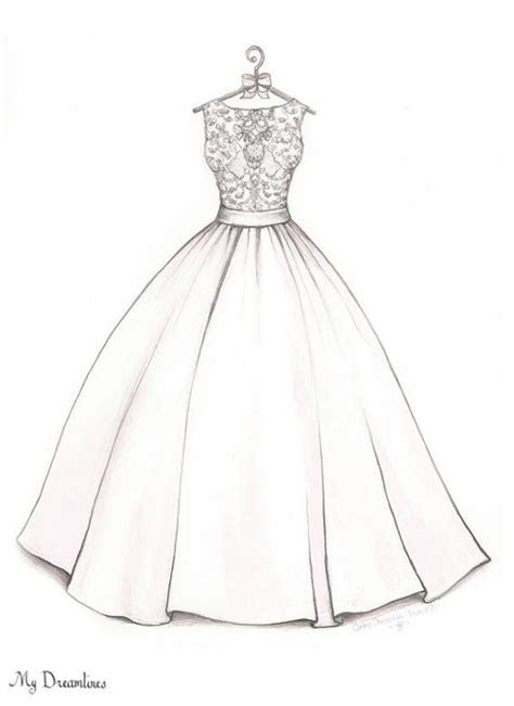 drawn wedding dress easy draw pencil   color drawn