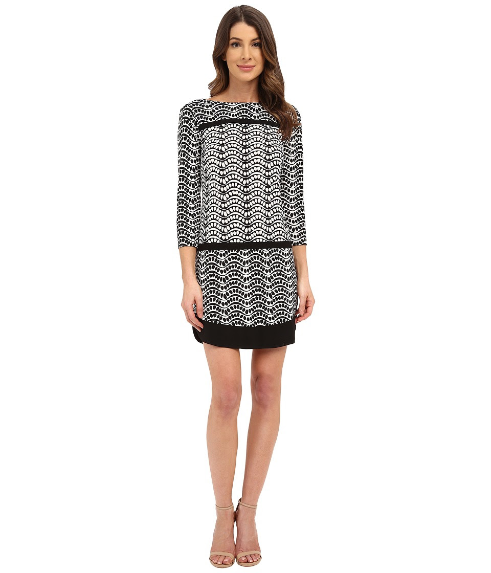 Donna Morgan - 3\/4 Sleeve Printed Jersey Drop Waist Shift Dress (Black\/Whitecap Grey) Women's Dress