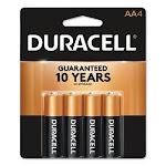 Duracell Alkaline Batteries with Duralock Technology, AA, 4/Pack (DURMN1500B4Z)