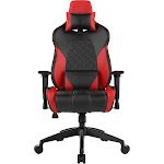 Gamdias ACHILLES E1-L - Chair - armrests - T-shaped - steel, foam, leather look vinyl - black, red