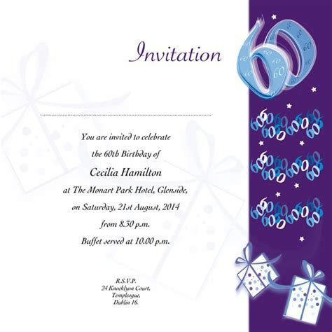 Occasion Card 60 2i   60th Birthday   wedding invitations