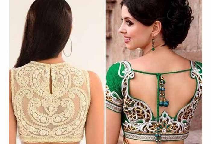 Lines side blouse neck 2017 back models