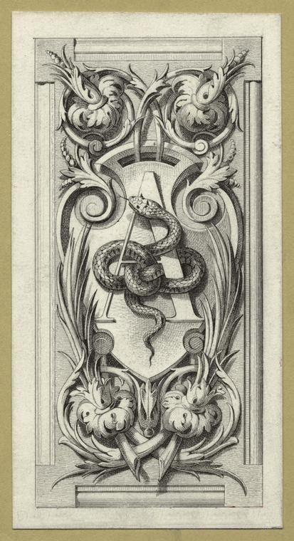 Design with a snake entwined in the letter A