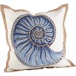 Saro Nautilus Spiral Shell Print Cotton Down Filled Throw Pillow