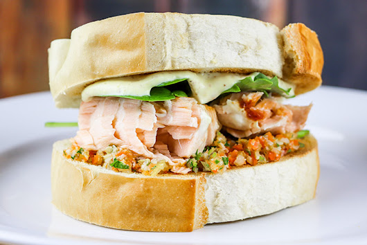 Pan-Fried Salmon Sandwich with Giardiniera Recipe