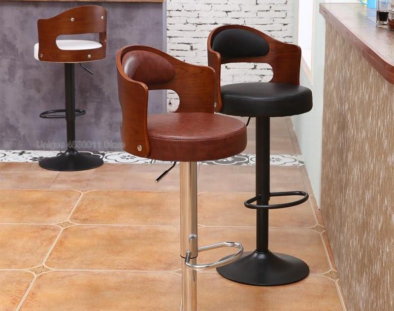 2pcs European Bar Stool Lift Rotating Bar Chair Cash Register High Stool Home Beauty Front Back Stool Bar Chairs Furniture