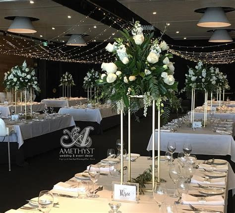 70cm Square Gold Pillar Flower Stand   Amethyst Wedding