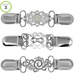 Evelots Sweater Clips-Shawl/Cardigan/Vest-Silver-3 Designs-Value Set of 3, Adult Unisex