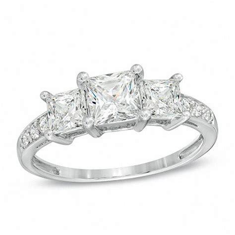 Princess Cut Lab Created White Sapphire Three Stone Ring