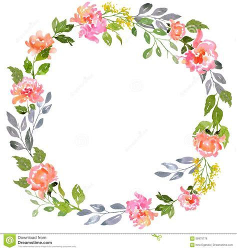 Watercolor Floral Card Template Stock Illustration