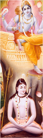 Lord Shiv meditating upon the lotus feet of the Lord