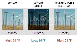 National Weather Service forecast for Sunday, Sunday night, and Monday, where it is expected to be, respectively,