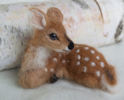 Needle Felted Deer Fawn Curled Up Laying Down Soft Alpaca