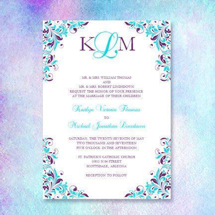 Purple & Turquoise Wedding Invitation Kaitlyn