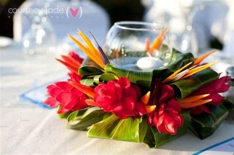 Elegant Hawaiian Style Centerpieces   Colorful, exotic