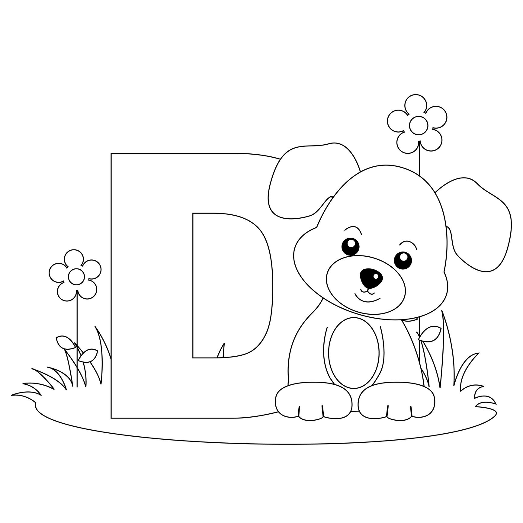 alphabet coloring pages Letter D