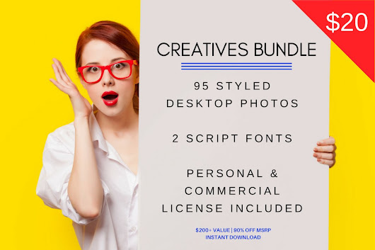 95 Images + 2 Fonts Creatives Bundle ~ Product Mockups on Creative Market