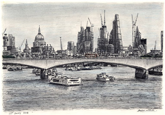 View of London skyline from Waterloo Bridge - Original drawings, prints and limited editions by Stephen Wiltshire MBE