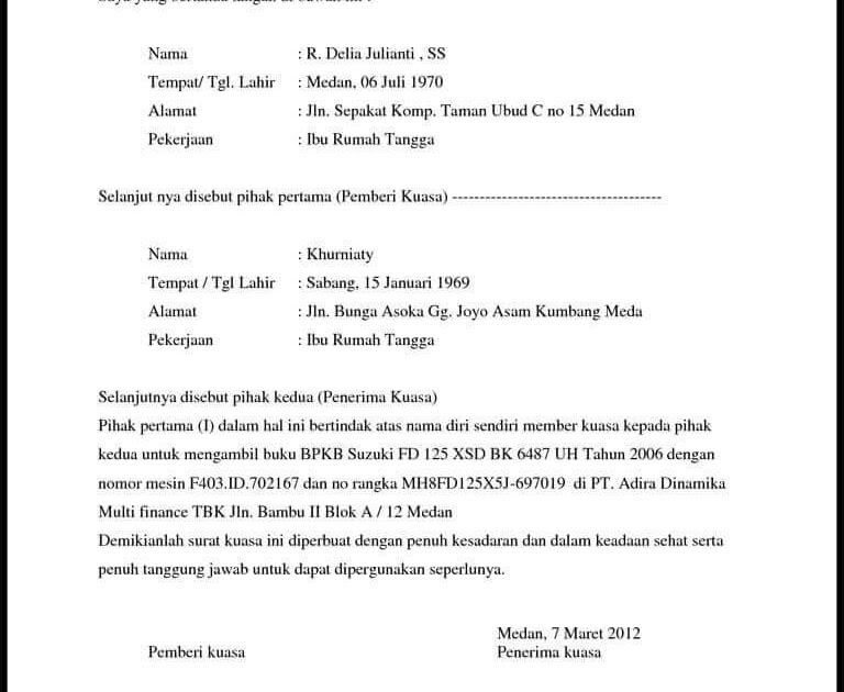 Surat Kuasa Pengambilan Uang Di Bank Doc - Kumpulan Contoh ...