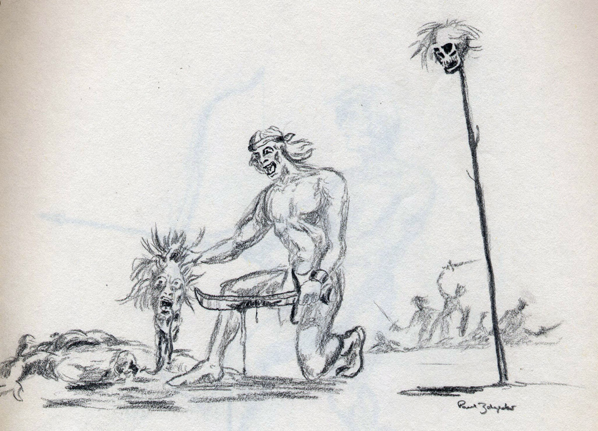 zdepski's high school drawing of a warrior with severed head