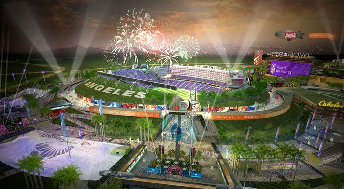 In this computer-generated art concept, fireworks fill the sky above the Los Angeles Football Stadium as a Super Bowl game comes to an end.