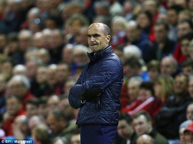 Martinez is very much a man alone at Anfield on the night when his Everton stewardship reached its nadir