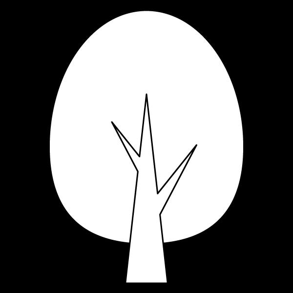 塗り絵に最適な白黒でかわいい木2の無料イラスト商用フリー オイデ43