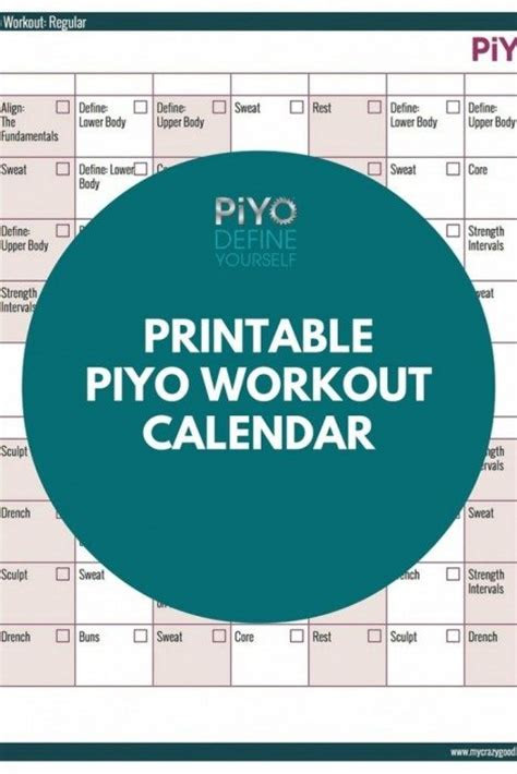 piyo printables archives  crazy good life