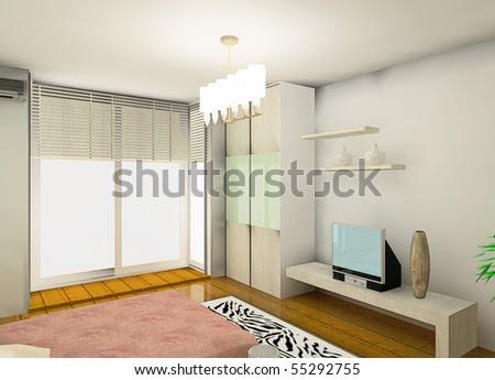 Cozy Bedroom Design Proposal Stock Photo 55292755 : Shu