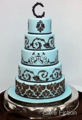 Cake Fiction: Blue and Chocolate Brown Damask Wedding Cake