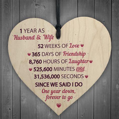 1st Wedding Anniversary Gift Wooden Heart First Wedding
