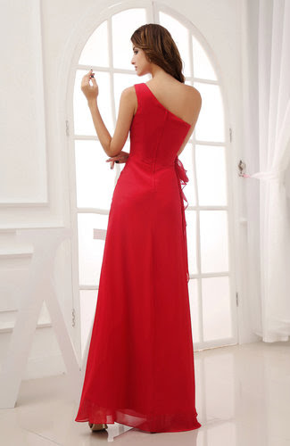 red modern column sleeveless zipper ruching wedding guest