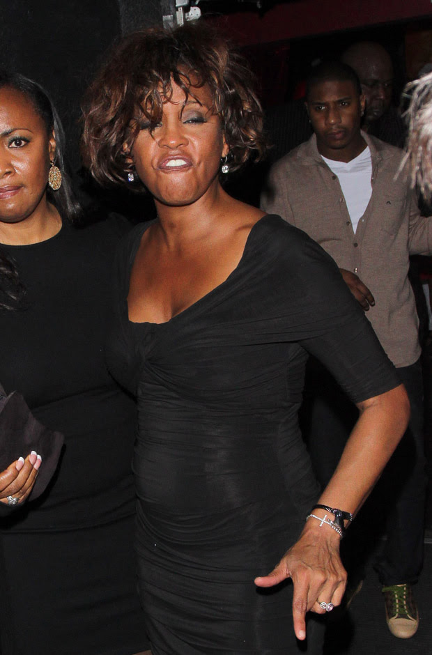 Whitney Houston looking worse for wear as she leaves Tru Hollywood nightclub
