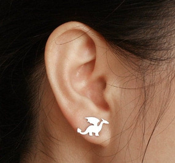 dragon earring studs in sterling silver, handmade in the UK by Huiyi Tan