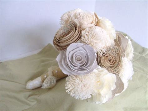 Hand Crafted Rustic Shabby Chic Paper Flower Bouquet by