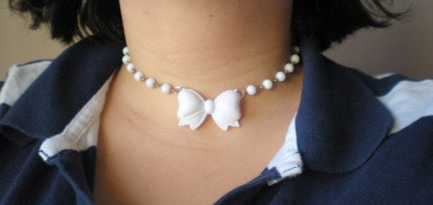 Girly Sweet White Bow Necklace