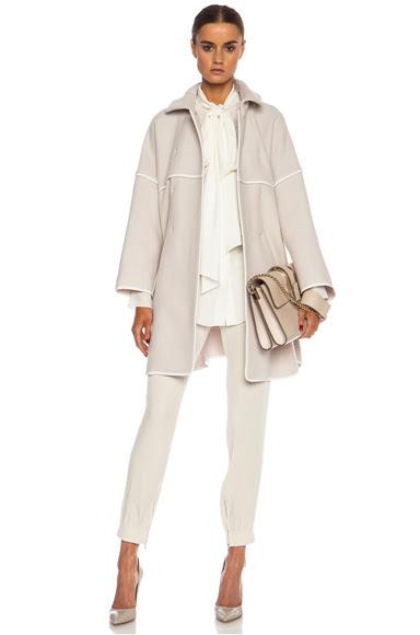 Chloe|Double Faced Wool Coat in Light Grey & Milk [1]