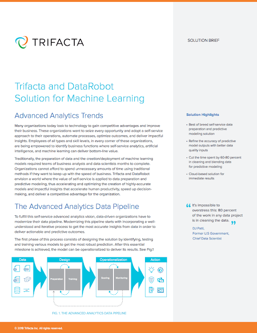 Trifacta and DataRobot Solution for Machine Learning | Trifacta