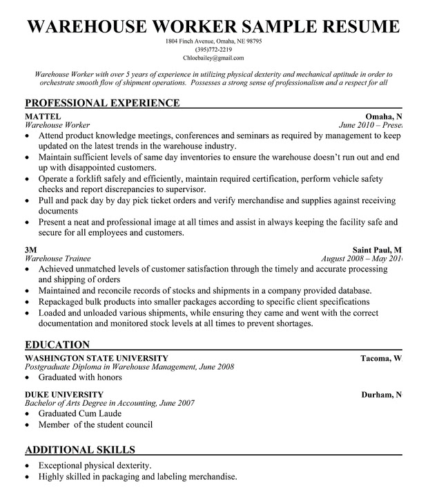 resume format  resume format latest for warehouse