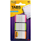"Post-it Durable Tabs, 1"" x 1.5"", Pink/Green/Orange - 66 count"