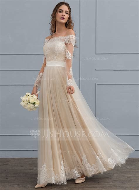 A Line Off the Shoulder Floor Length Tulle Lace Wedding