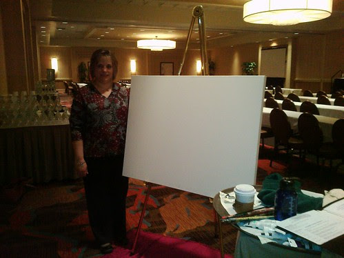 Esther with the blank Canvas