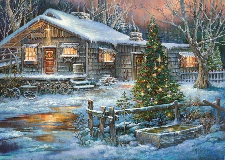 Snow cabin  Christmas Pictures  Pinterest