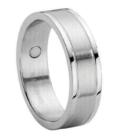 Stainless Steel Wedding Ring for Men with Therapy Magnets, 8mm