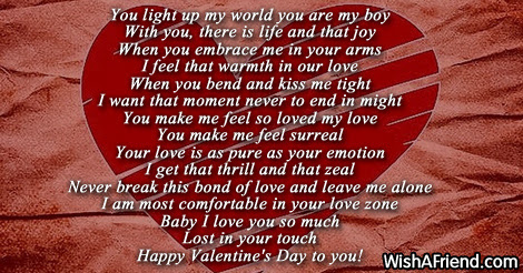 You Light Up My World Valentine Poem For Him